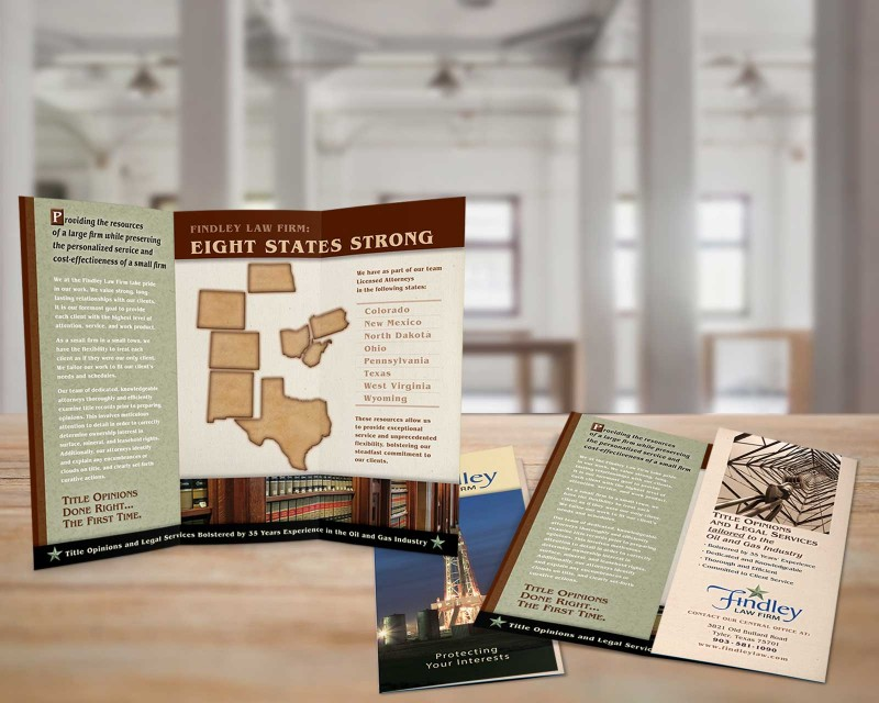 Brochure design and printing for law firm in Tyler Texas