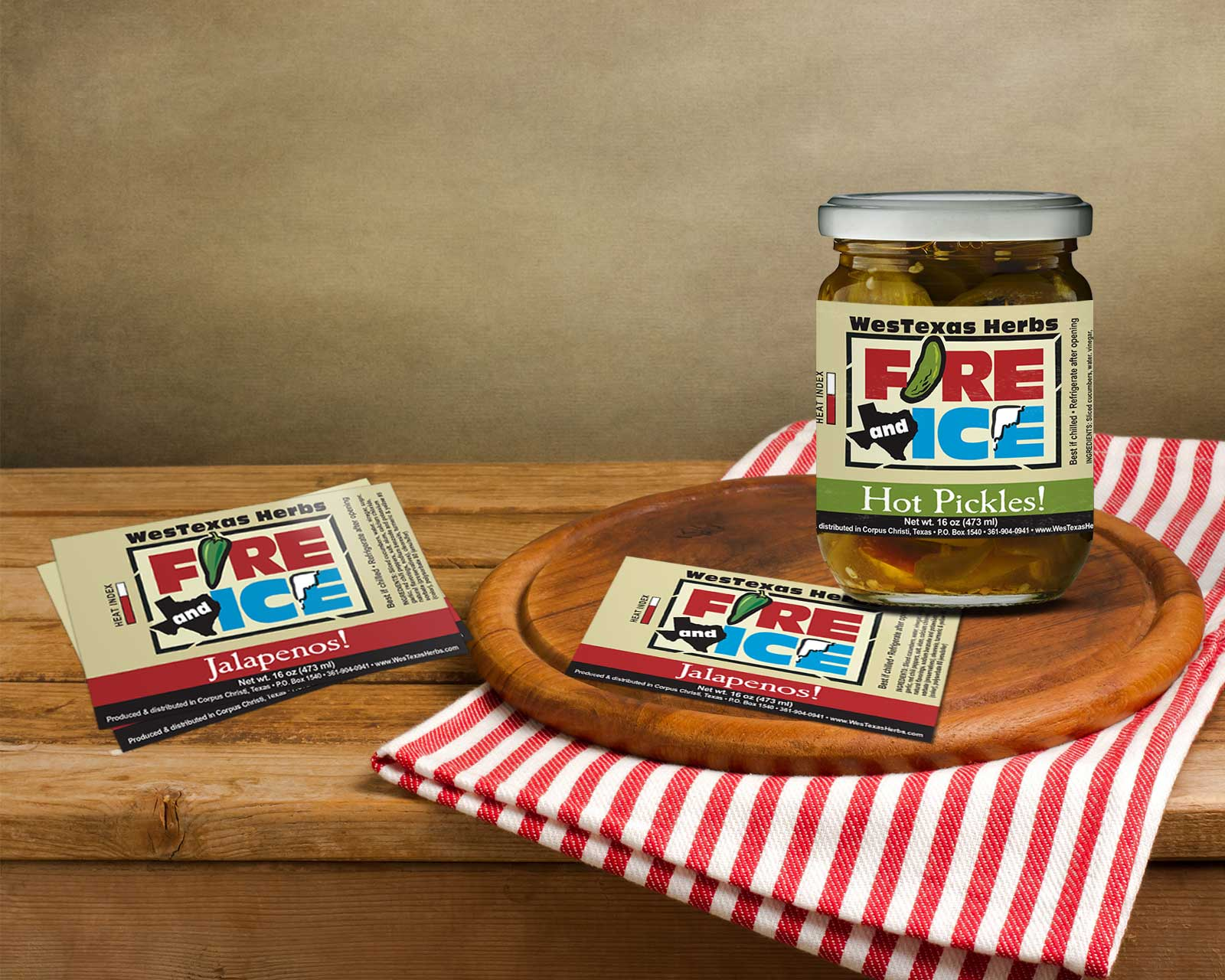 Jar label design for pickling company in Corpus Christi Texas