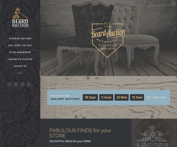 Web Site Design for Beard Antiques Auction in Jacksonville, Texas