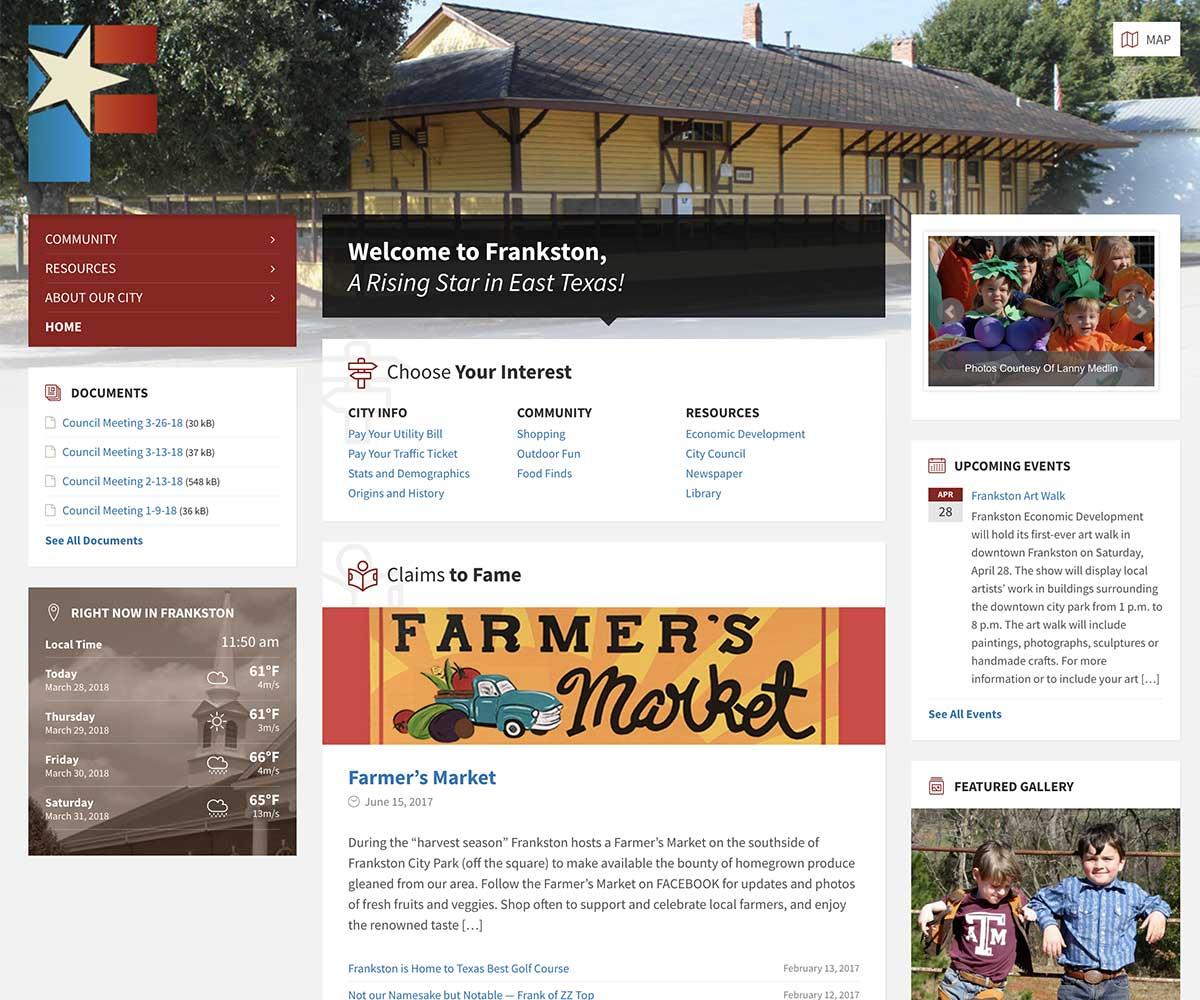 Web Site Design for City of Frankston, Texas