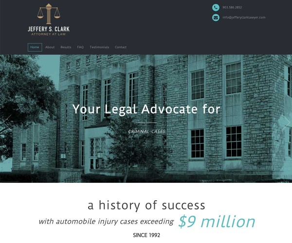 Web Site Design for Attorney Jeffery Clark in Jacksonville Texas