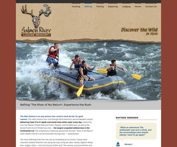 Web Site Design for Salmon River Lodge