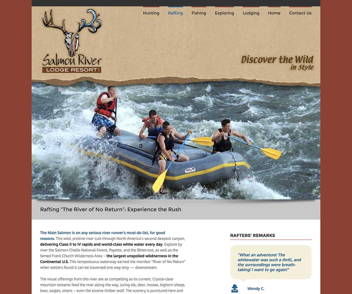 Web Site Design for Salmon River Lodge