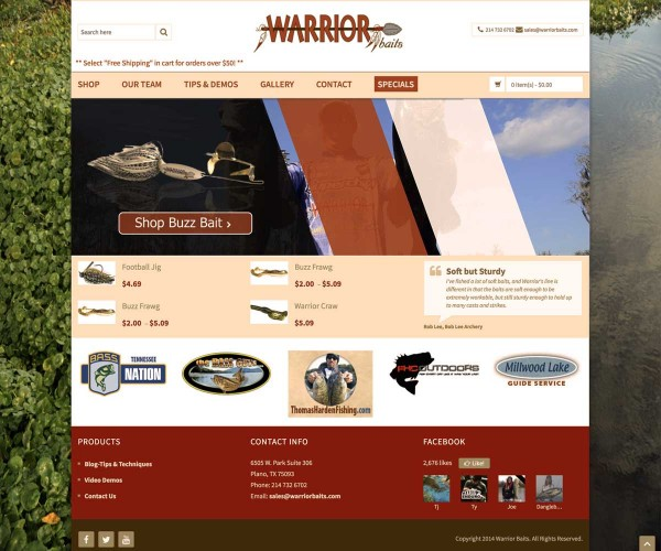 Web design for Warrior Baits